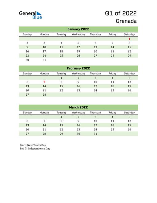 Quarterly Calendar 2022 with Grenada Holidays