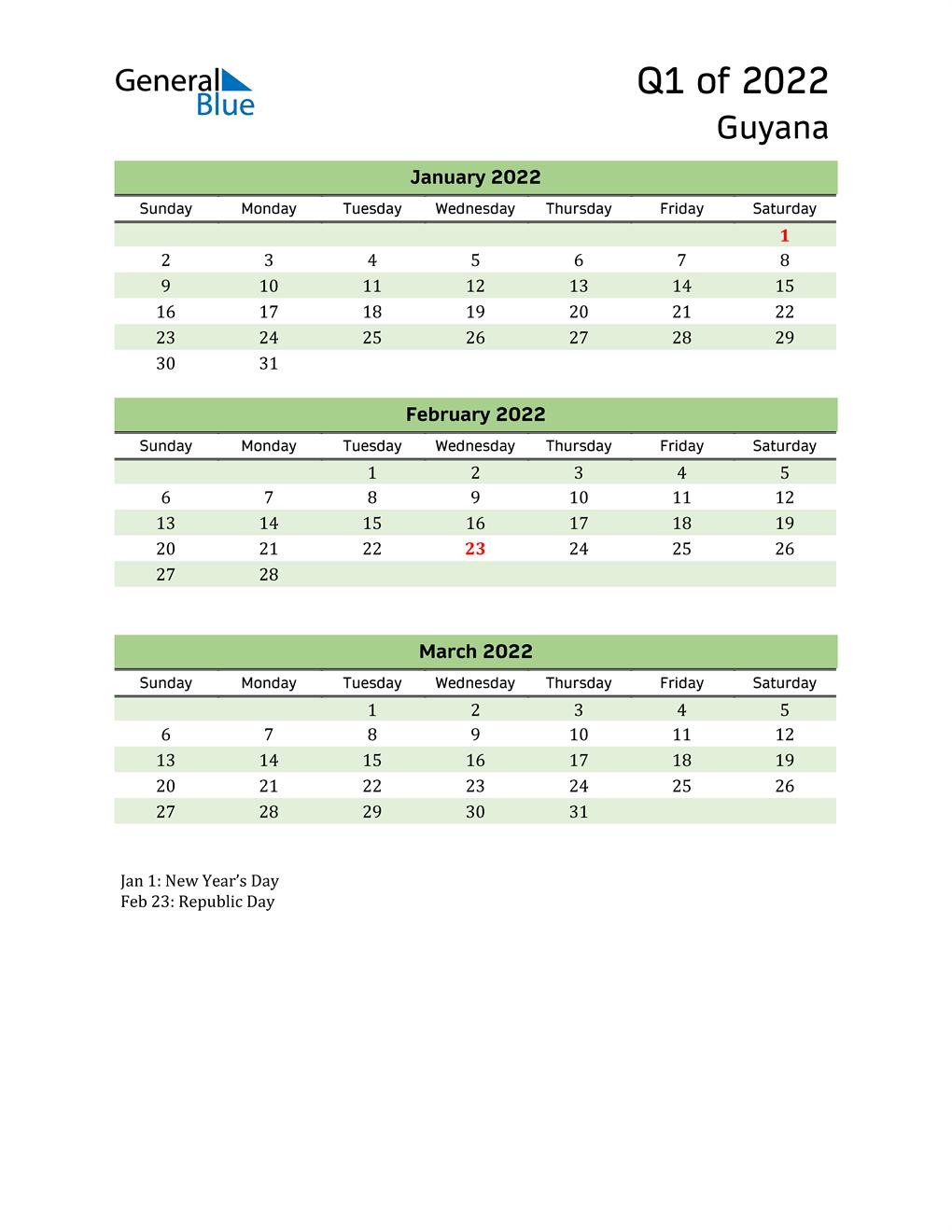 Quarterly Calendar 2022 with Guyana Holidays