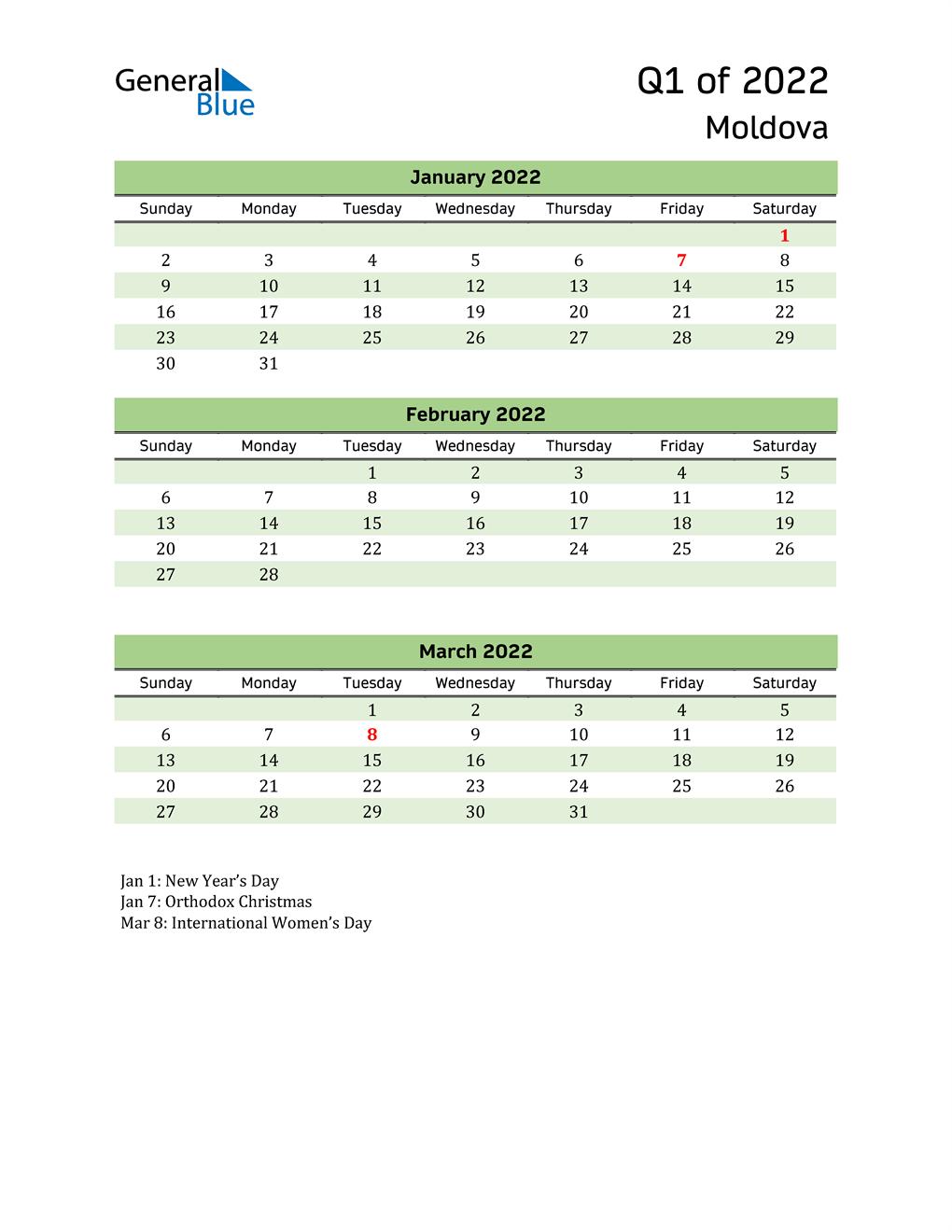Quarterly Calendar 2022 with Moldova Holidays
