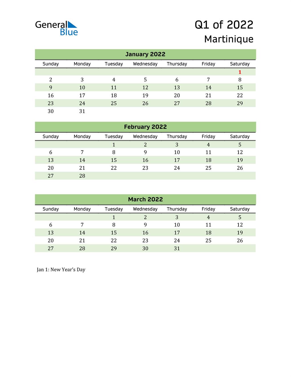 Quarterly Calendar 2022 with Martinique Holidays