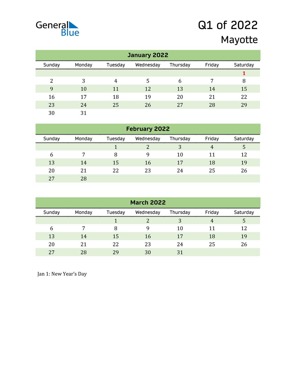 Quarterly Calendar 2022 with Mayotte Holidays