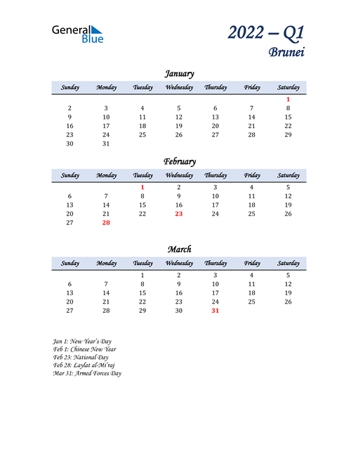 January, February, and March Calendar for Brunei