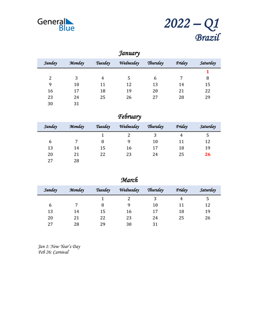 January, February, and March Calendar for Brazil