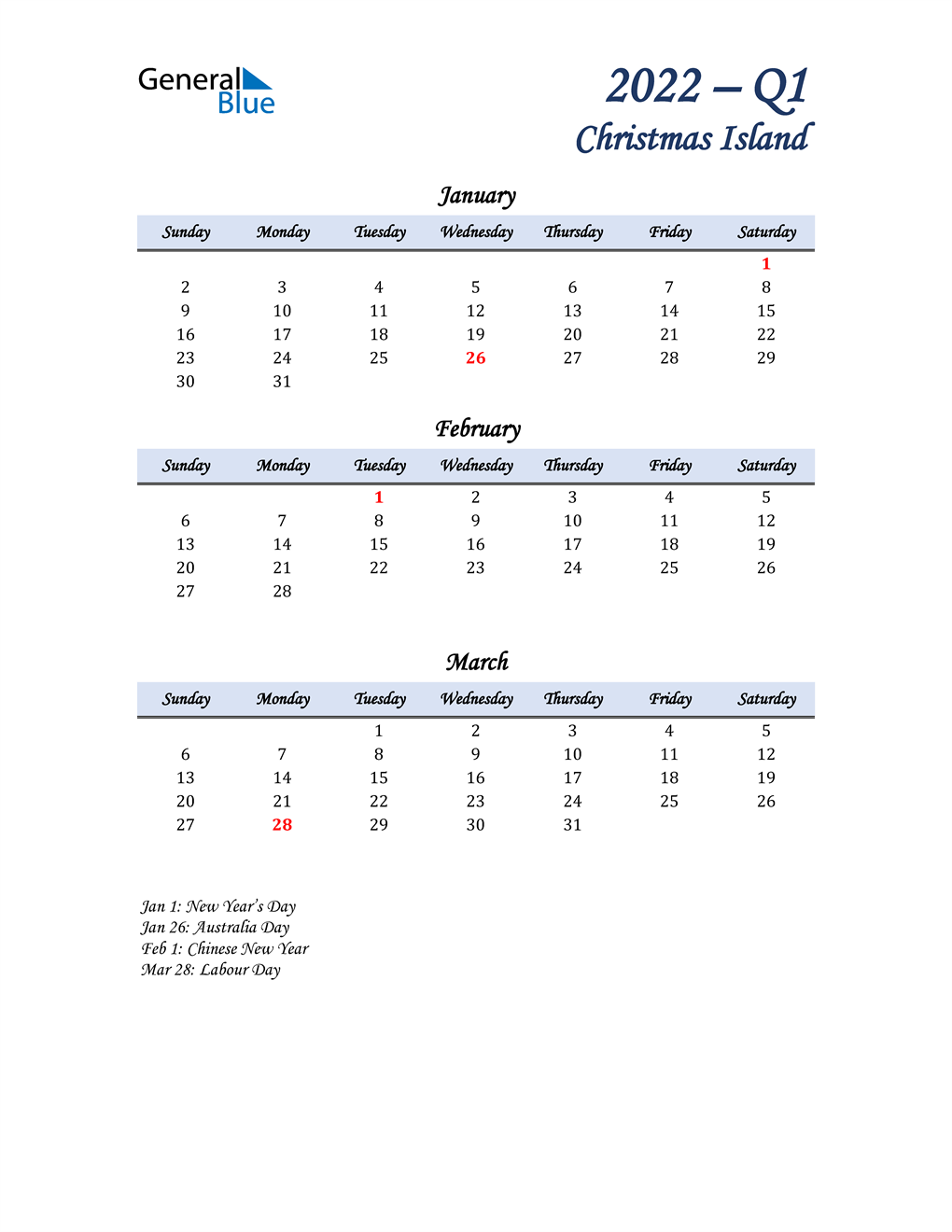 January, February, and March Calendar for Christmas Island