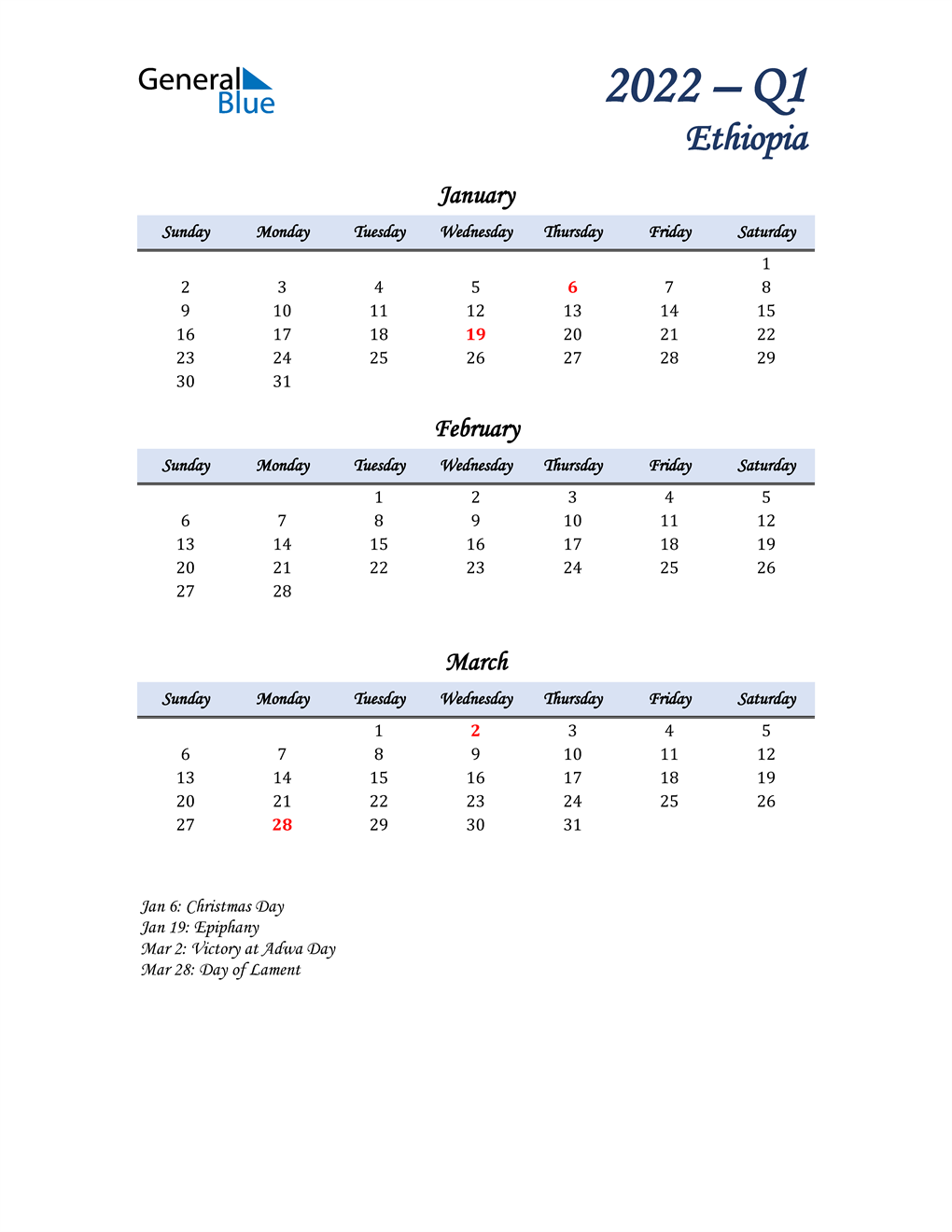 January, February, and March Calendar for Ethiopia