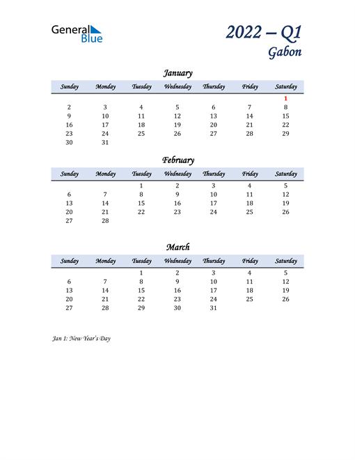 January, February, and March Calendar for Gabon