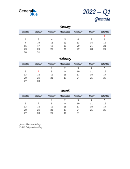 January, February, and March Calendar for Grenada