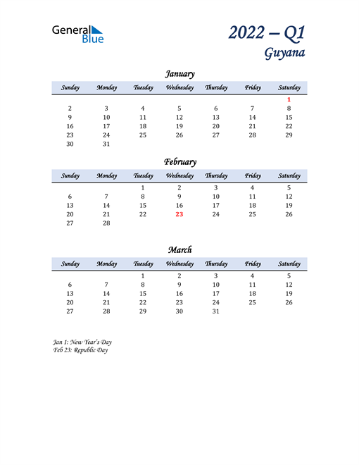 January, February, and March Calendar for Guyana