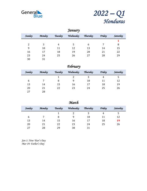 January, February, and March Calendar for Honduras