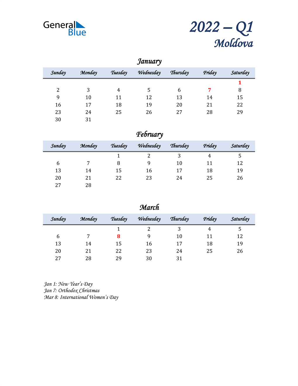 January, February, and March Calendar for Moldova