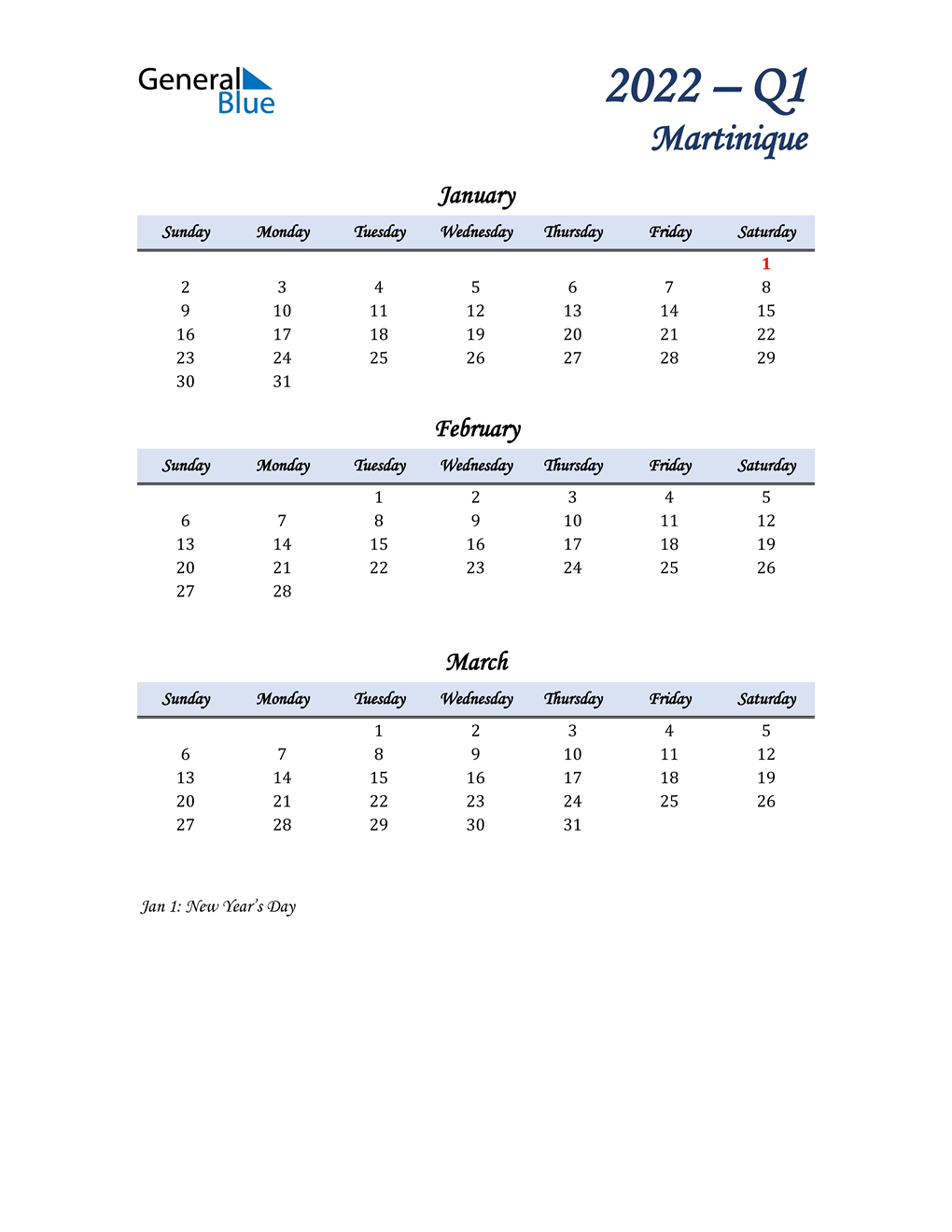 January, February, and March Calendar for Martinique
