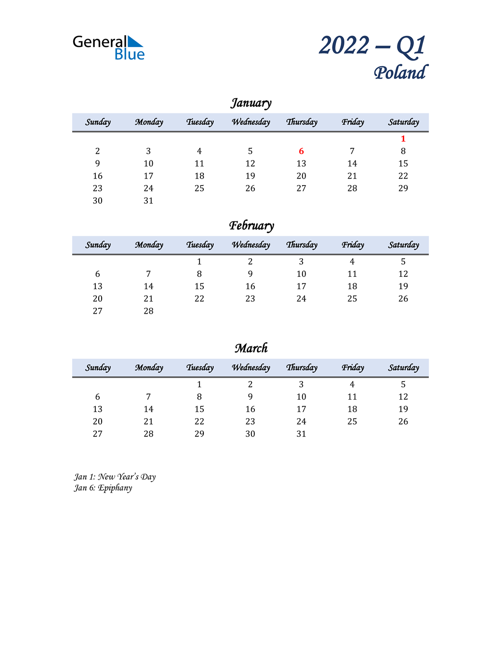 January, February, and March Calendar for Poland