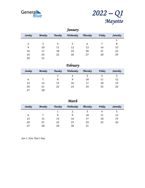 January, February, and March Calendar for Mayotte