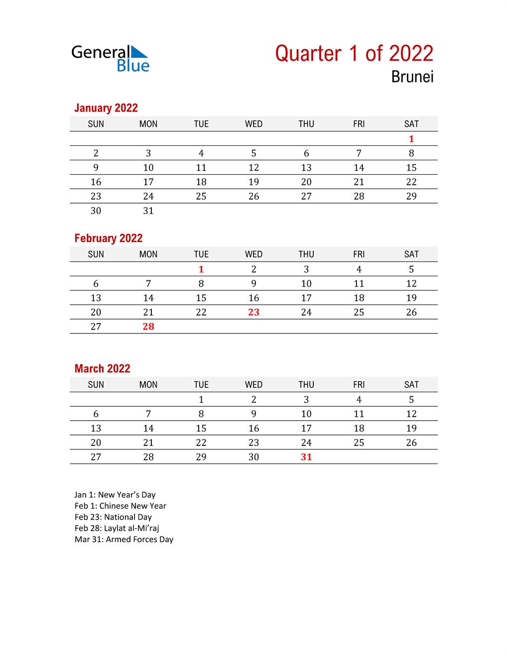 Printable Three Month Calendar for Brunei