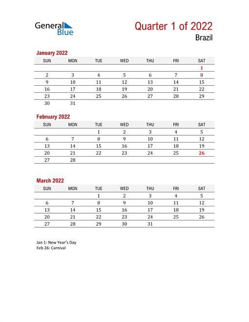 Printable Three Month Calendar for Brazil