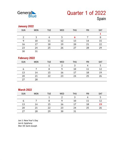 Printable Three Month Calendar for Spain