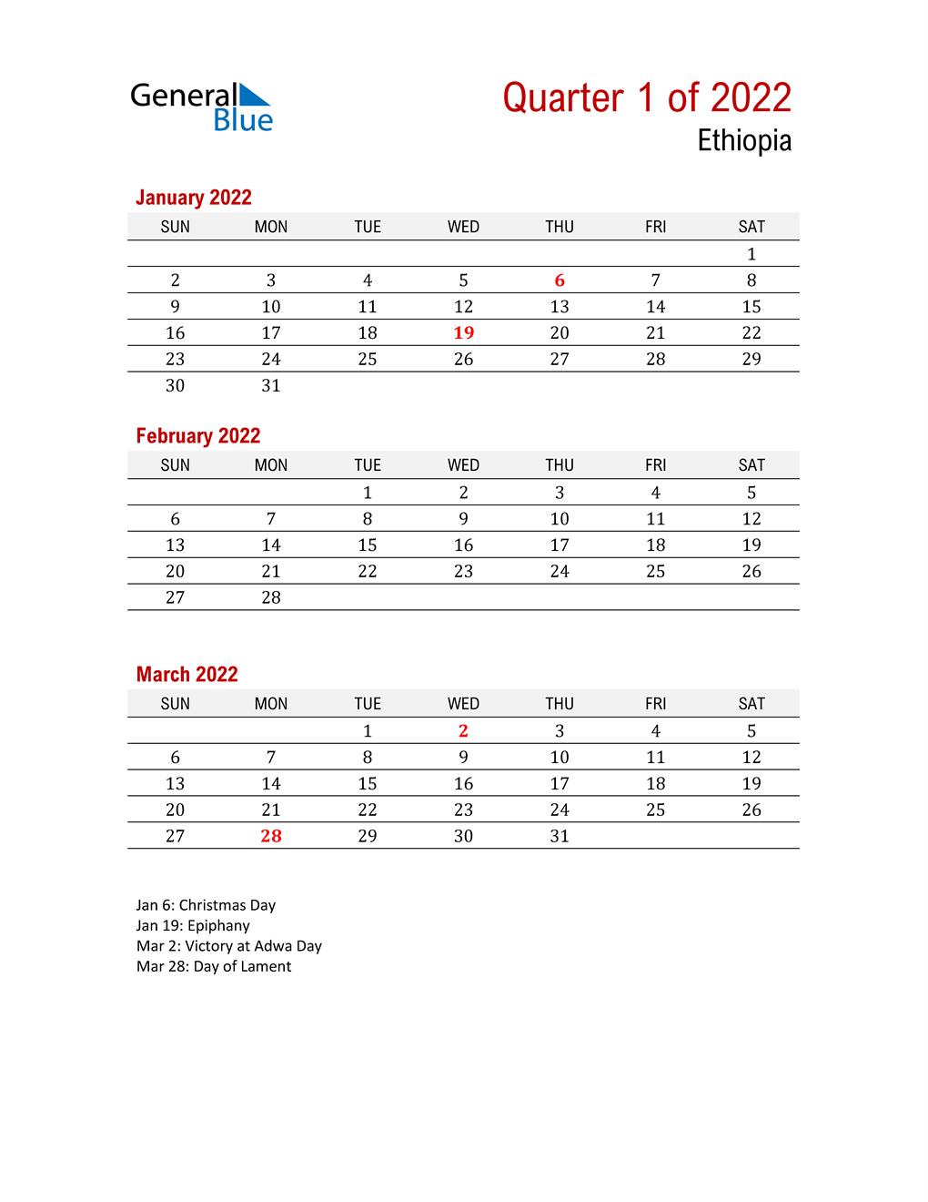 Printable Three Month Calendar for Ethiopia
