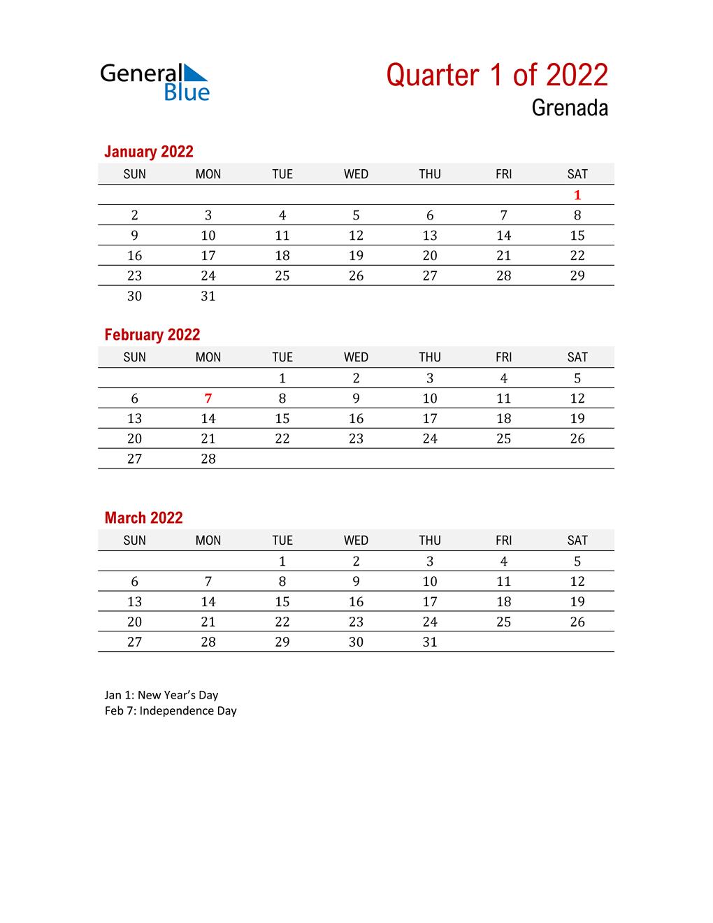 Printable Three Month Calendar for Grenada