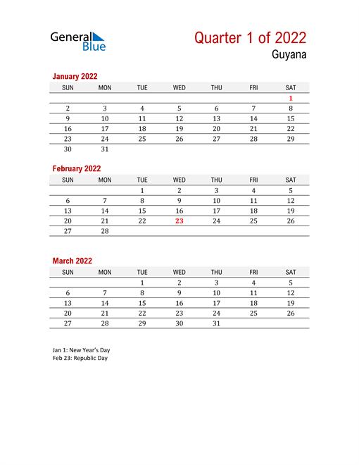 Printable Three Month Calendar for Guyana