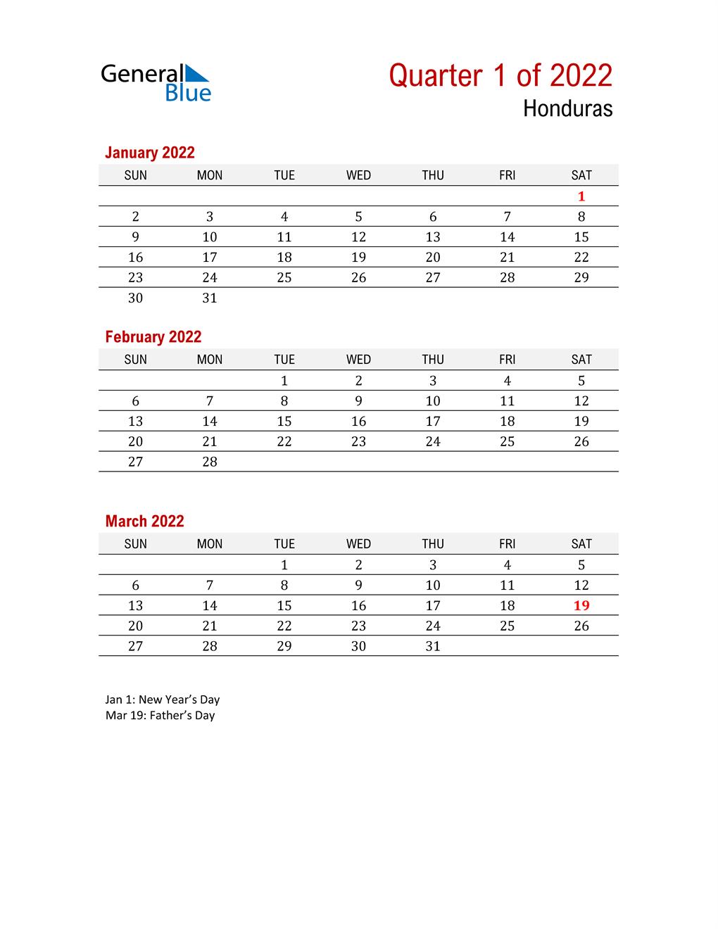 Printable Three Month Calendar for Honduras