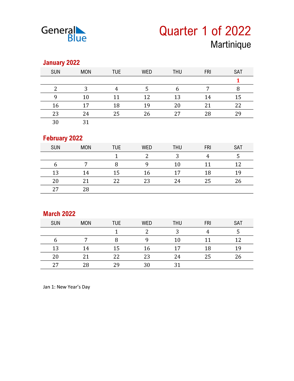 Printable Three Month Calendar for Martinique