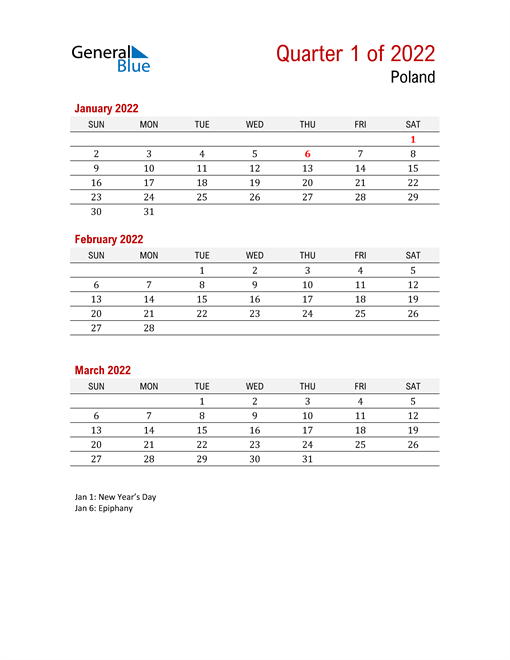 Printable Three Month Calendar for Poland