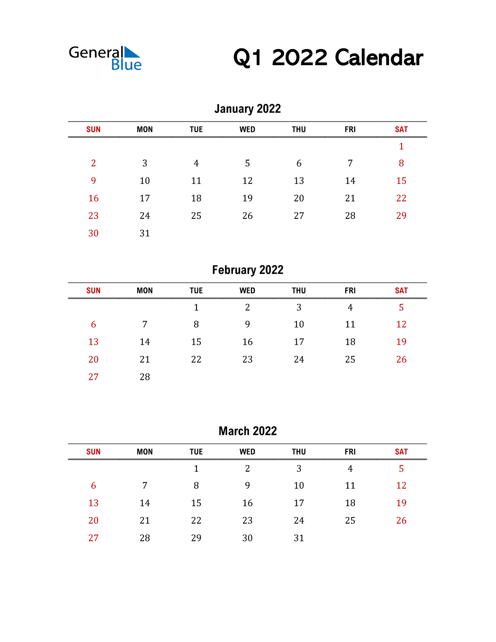 2022 Q1 Calendar with Red Weekend