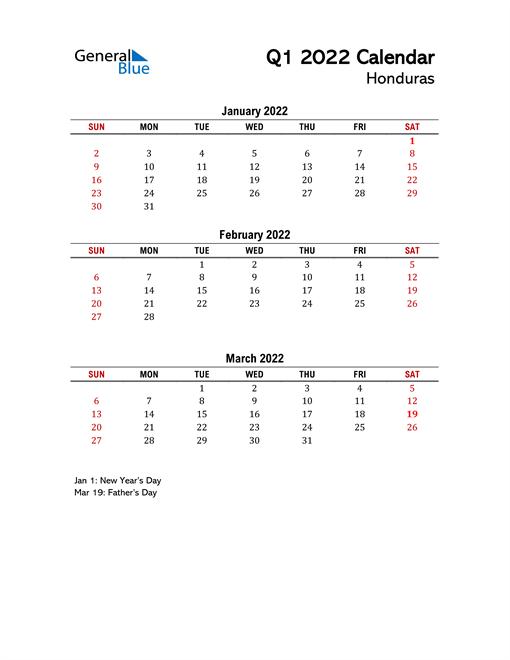 2022 Q1 Calendar with Holidays List
