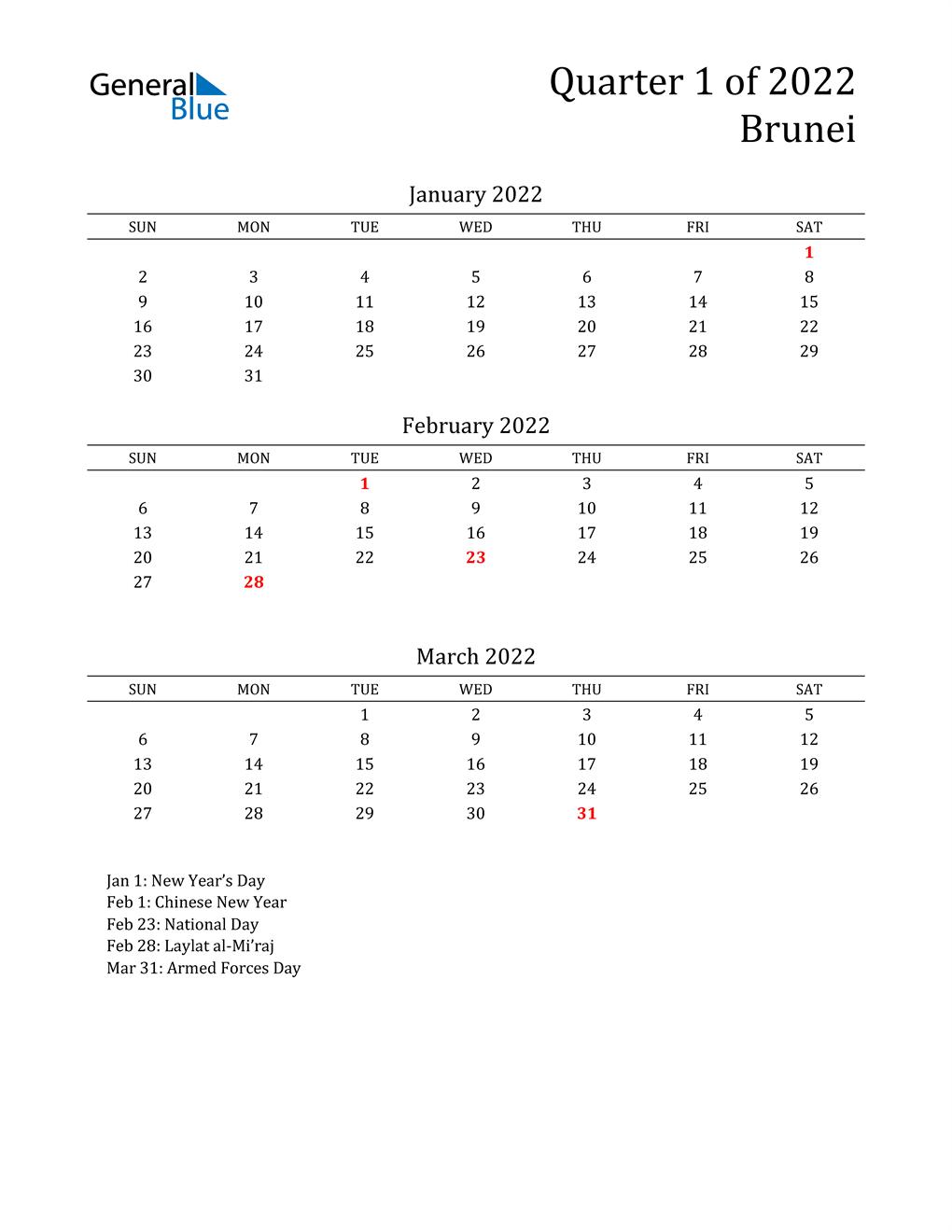 2022 Brunei Quarterly Calendar