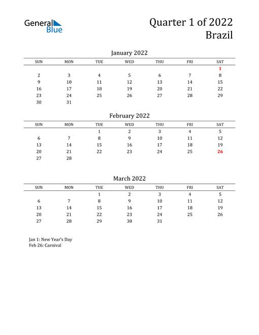2022 Brazil Quarterly Calendar