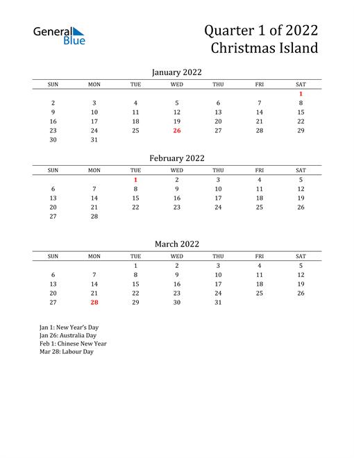 2022 Christmas Island Quarterly Calendar