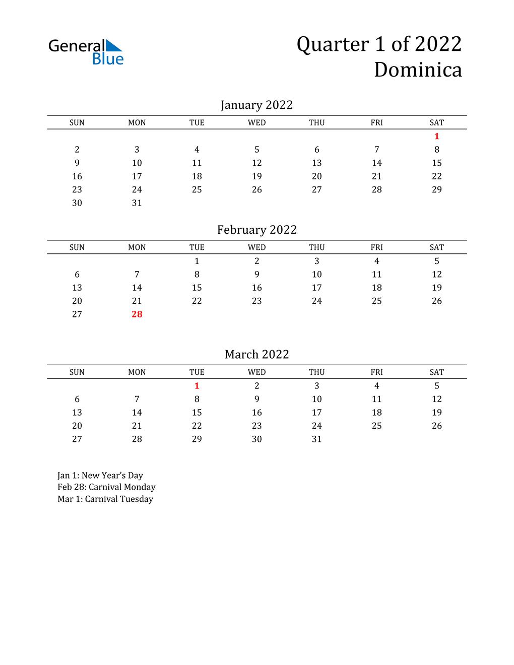 2022 Dominica Quarterly Calendar