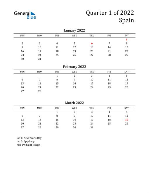 2022 Spain Quarterly Calendar