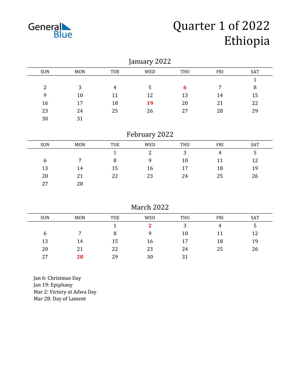 2022 Ethiopia Quarterly Calendar