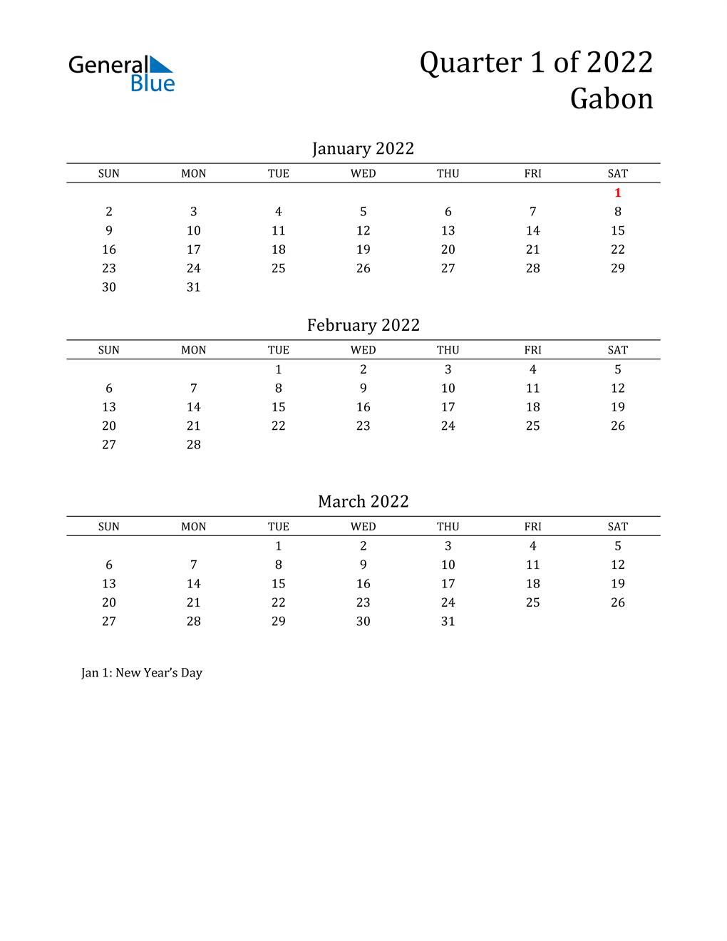 2022 Gabon Quarterly Calendar