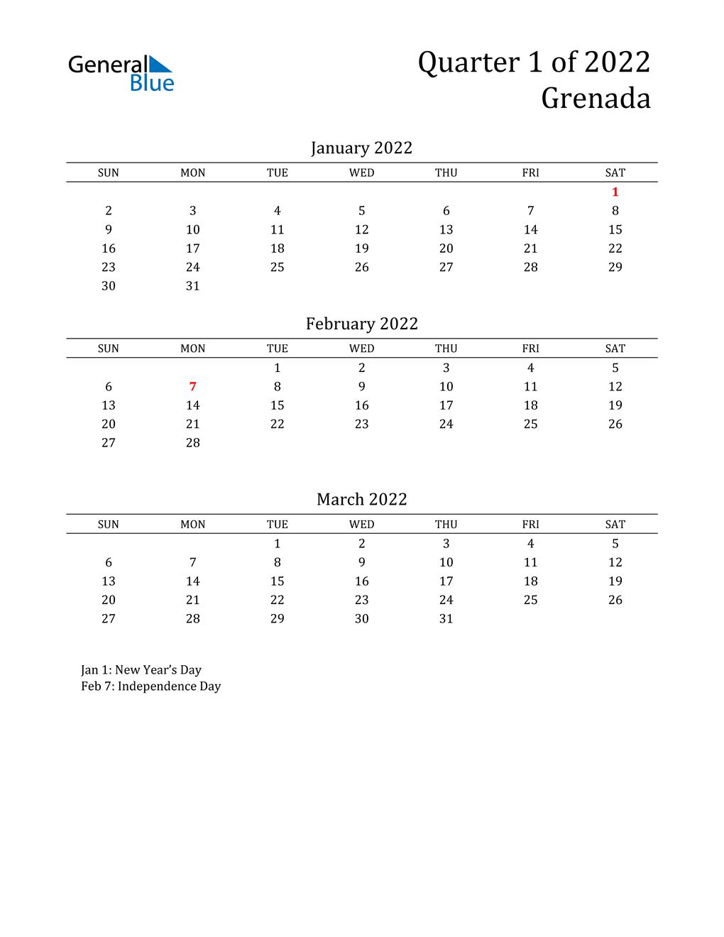 2022 Grenada Quarterly Calendar