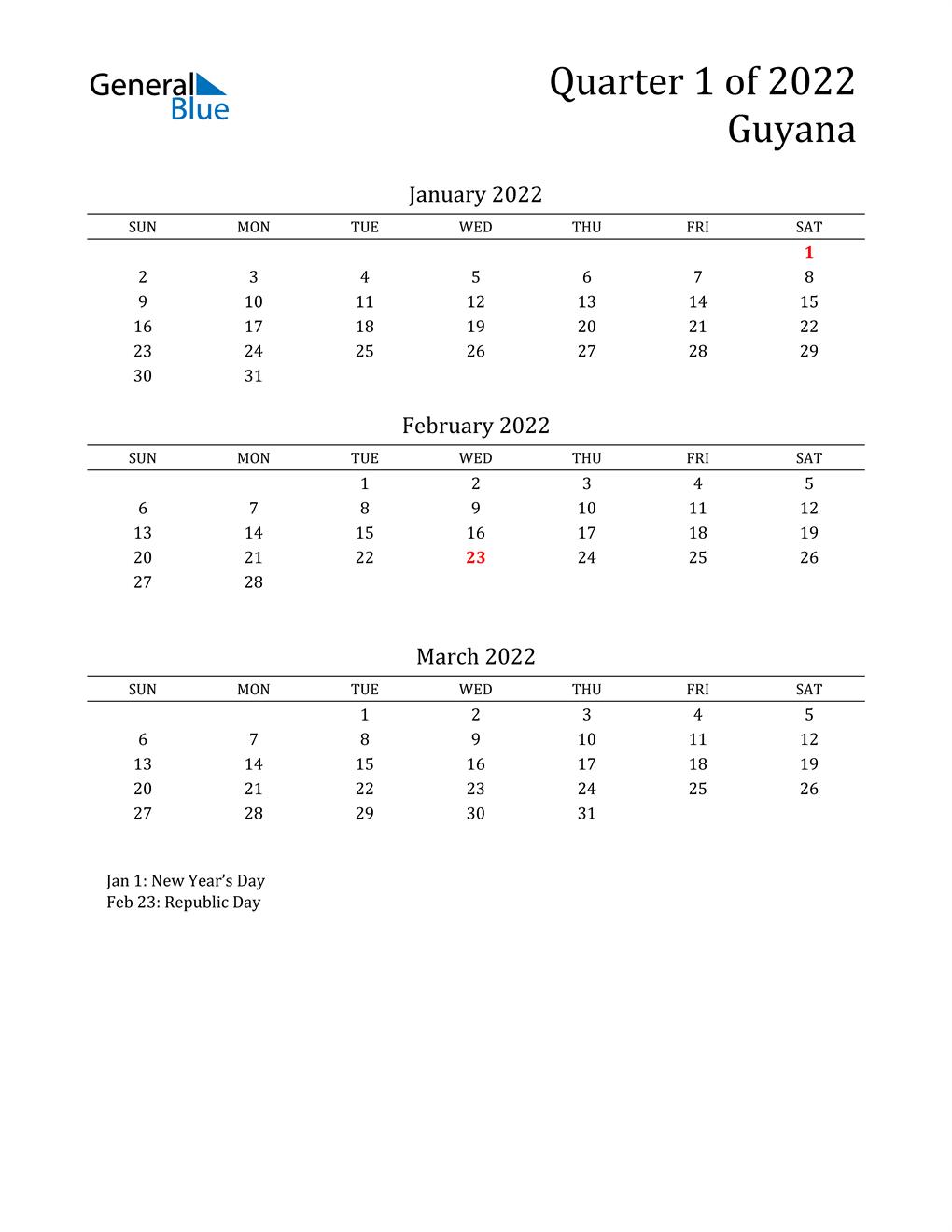 2022 Guyana Quarterly Calendar