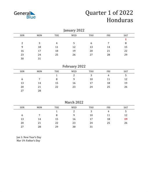 2022 Honduras Quarterly Calendar