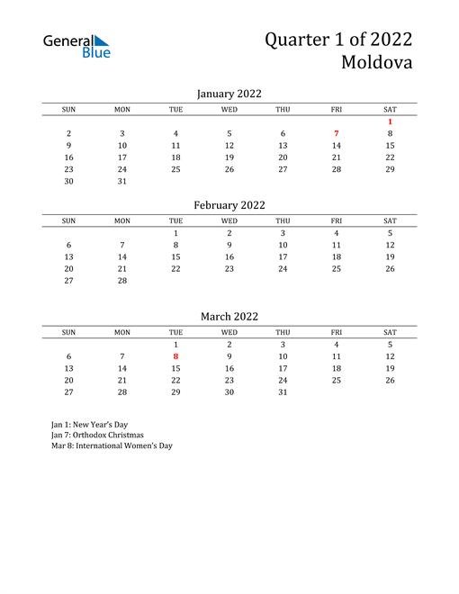 2022 Moldova Quarterly Calendar