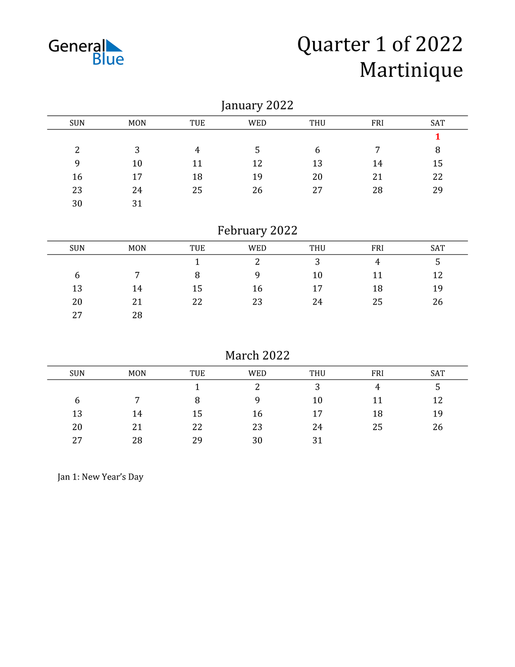 2022 Martinique Quarterly Calendar