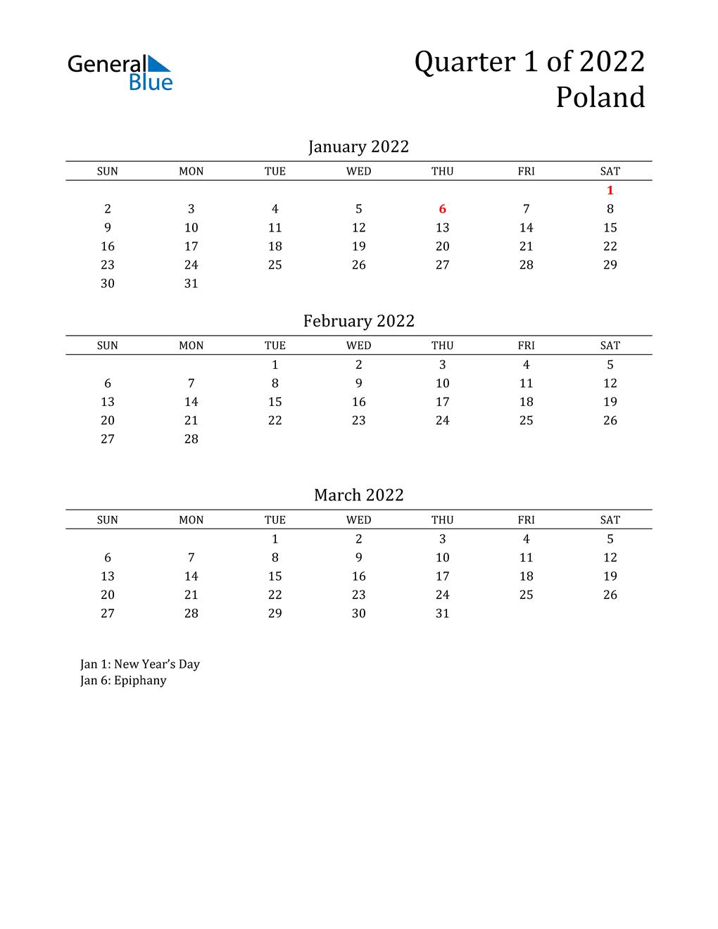 2022 Poland Quarterly Calendar