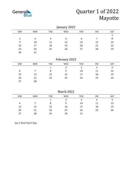 2022 Mayotte Quarterly Calendar