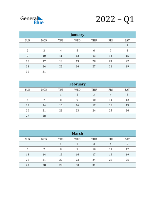 January, February, and March 2022 Calendar