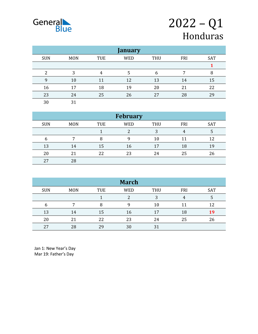 Three-Month Planner for Q1 2022 with Holidays