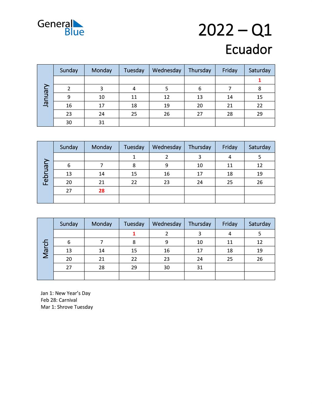 Free Q1 2022 Calendar for Ecuador