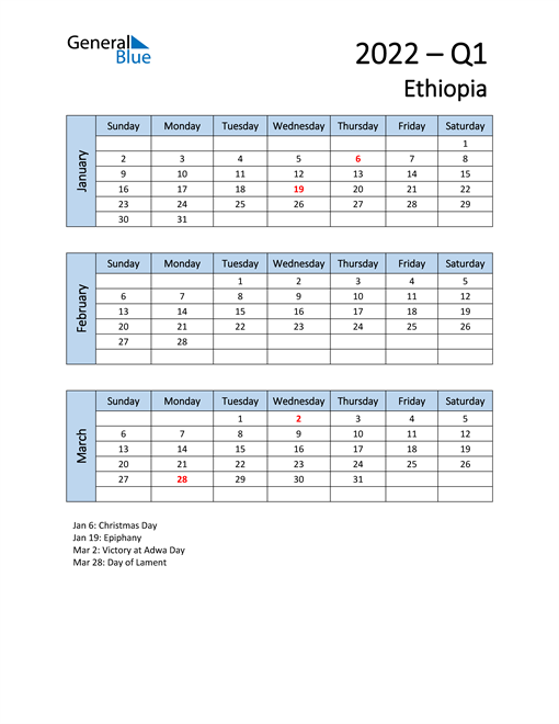 Free Q1 2022 Calendar for Ethiopia