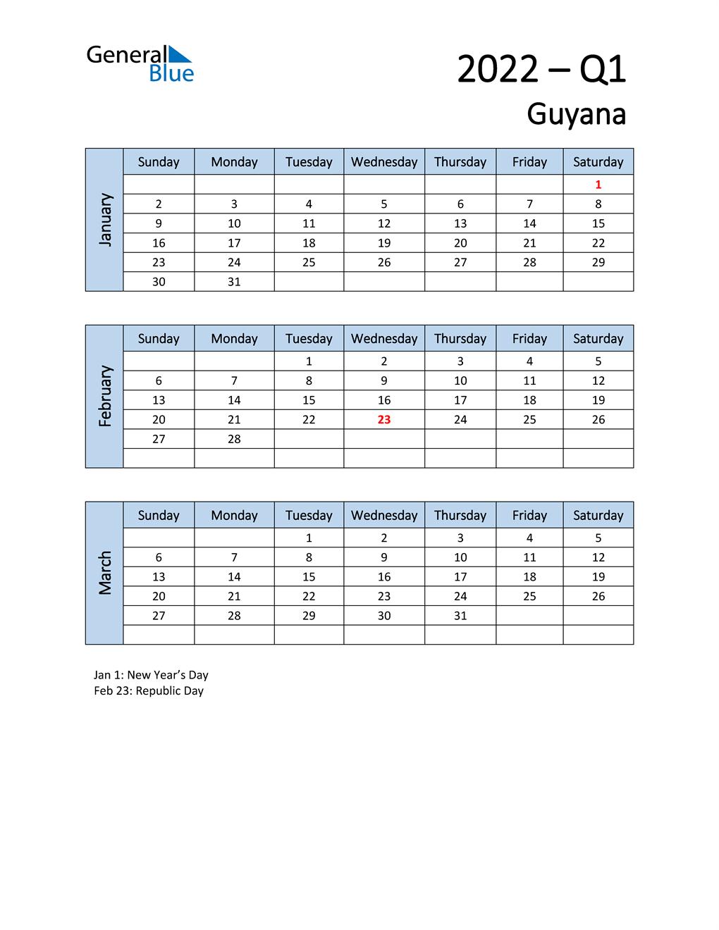 Free Q1 2022 Calendar for Guyana