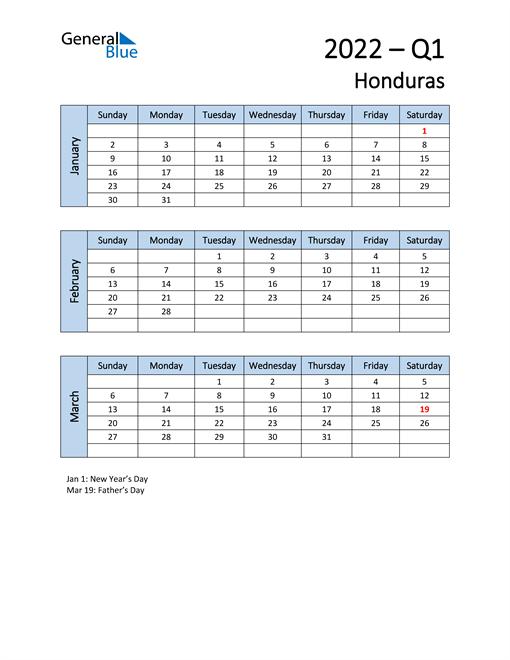 Free Q1 2022 Calendar for Honduras