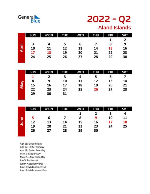 Q2 2022 Calendar with Holidays