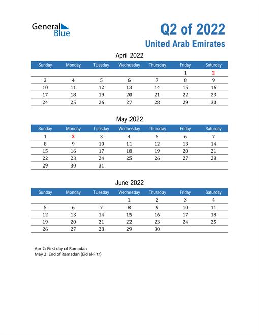 United Arab Emirates 2022 Quarterly Calendar